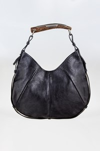 Yves Saint Laurent Buffalo Leather Mombasa Medium Horn Shoulder Bag