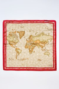 Alviero Martini 1ª Classe Ecru Silk Scarf with Map Print