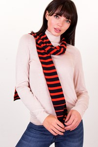 Burberry Black-Orange Striped Cotton Scarf