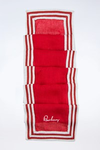 Burberry Red-White Lightweight Knitted Scarf