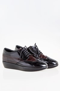 Hogan Black-Burgundy Patent Leather Platform Brogues