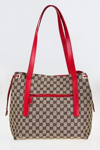 Gucci GG Coated Canvas and Red Leather Tote Bag