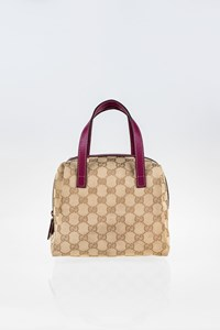 Gucci GG Canvas Small Tote Bag with Purple Leather Details