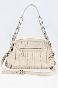 Dior Off-White Quilted Leather Shoulder Bag with Chain Strap