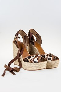 Dolce & Gabbana Leopard Print Pony Hair Espadrille Wedges / Size: 40 - Fit: True to size