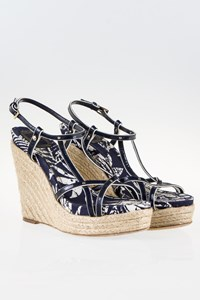 Dior Blue Patent Espadrille Wedge Sandals / Size: 40 - Fit: True to size