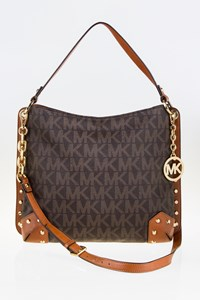 MICHAEL Michael Kors Brown Messenger Bag with Leather Trim and Studs