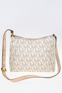 MICHAEL Michael Kors Ecru Shoulder Bag with Beige Leather Trim