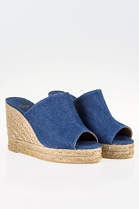 Castañer Bubu Denim Wedge Mules / Size: 38 - Fit: True to Size