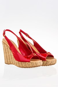Car Shoe Red Patent Slingback Wedges / Size: 39 - Fit: True to Size