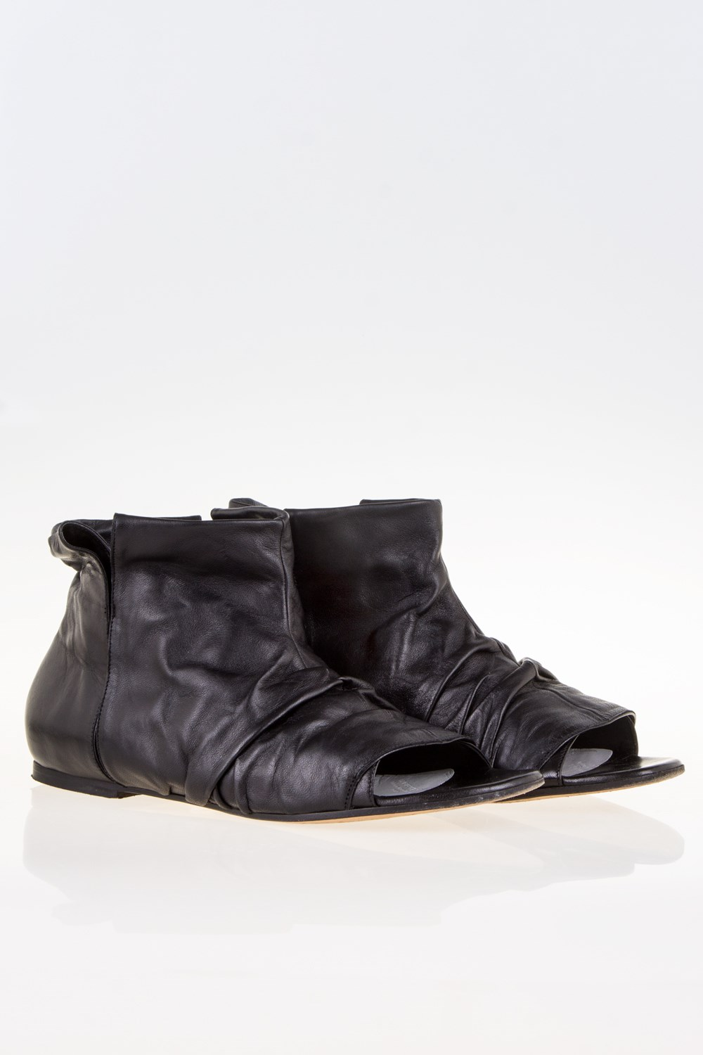 Black Leather Open-Toe Booties / Size