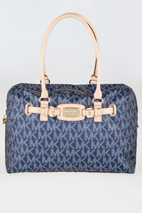 MICHAEL Michael Kors Blue Denim Shoulder Bag with Beige Leather Trim