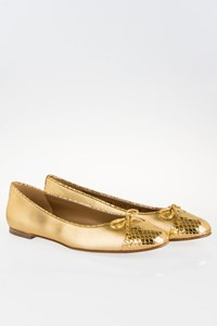 Stuart Weitzman Capsule Gold Snakeskin Ballet Flats / Size: 40.5 (10.5 M) - Fit: True to size