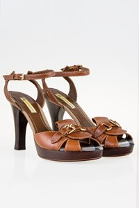 Burberry Dark Tan Leather Sandals with Buckles / Size: 40 - Fit: 39