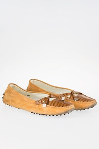 Tod's Light Tan Suede-Snakeskin Loafers / Size: 38.5 - Fit: True to size