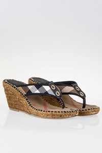 Burberry Check Printed Espadrille Wedge Sandals / Size: 39 - Fit: 38