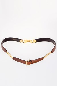Céline Vintage Tan Leather and Chain Belt