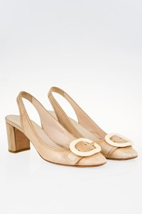 Prada Beige Leather Slingbacks with Buckle / Size: 39 - Fit: 38.5