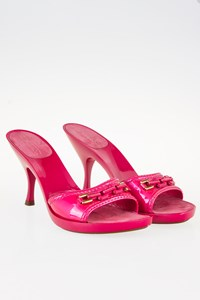 Louis Vuitton Fuchsia Patent Leather Peep-toe Mules / Size: 37.5 - Fit: 36.5