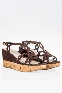 Prada Brown Suede and Cork Wedges Sandals / Size: 39 - Fit: 38.5