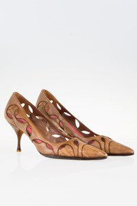Prada Tan Leather Cut-out Pumps  / Size: 39.5 - Fit: 38.5