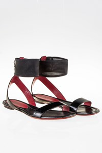 Cesare Paciotti Black Patent Leather Ankle Strap Sandals / Size: 40 - Fit: 40.5