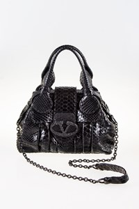 Valentino Black Python Small Tote Bag with Strap