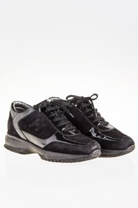 Hogan Interactive Black Suede and Patent Leather Sneakers / Size: 35.5 - Fit: 36.5