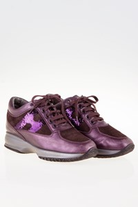 Hogan Interactive Metallic Aubergine Sneakers with Sequins / Size: 36 - Fit: 37