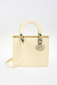Dior Lady Dior Cream-Coloured Polished Leather Tote Bag with Strap