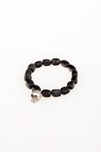 Very Gavello Black Beaded Skull Bracelet