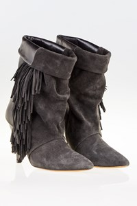 Isabel Marant for H&M Black-Grey Leather and Suede Fringed Boots / Size: 38 - Fit: True to size