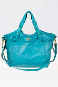 Marc By Marc Jacobs Totally Turnlock Lucy Aquamarine Leather Tote Bag