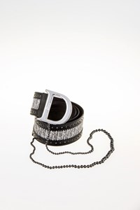 Diorissimo Brogue Leather Chain-Embellished Belt