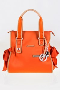 Juicy Couture Orange Scuba Shoulder Bag with Leather Details