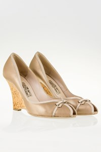 Salvatore Ferragamo Genie Leather Pumps with Cork Wedge Heel / Size: 39.5 - Fit: 40
