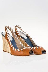 Christian Louboutin Whipstitch Slingbacks with Espadrille Wedge Heels / Size: 39 - Fit: 38.5