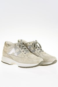 Hogan Interactive Light Grey Suede Sneakers with Paillets / Size: 38.5 - Fit: 39.5