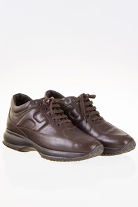 Hogan Interactive Chocolate Brown Leather Sneakers / Size: 39 - Fit: 40