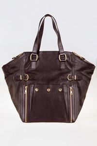 Yves Saint Laurent Downtown Medium Chocolate Brown Leather Tote Bag