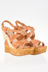 Miu Miu Tan Leather Sandals with Wooden Wedges / Size: 38 - Fit: True to size