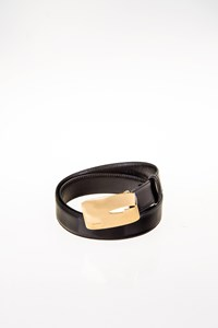 Gucci Black Leather Belt with Golden Buckle