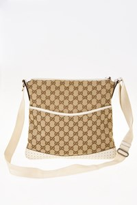 Gucci Ecru GG Canvas Perforated Leather Shoulder Bag