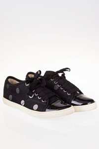 Lanvin Black Polka Dot Lace-Up Sneakers / Size: 38 - Fit: True to size