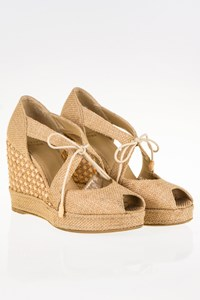 Stuart Weitzman Raffia Wedge Sandals / Size: 38½ (8½) - Fit: 39