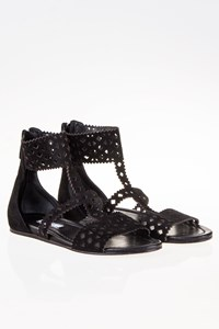 Prada Black Suede Leather Laser Cut Sandals / Size: 38½ - Fit: True to size