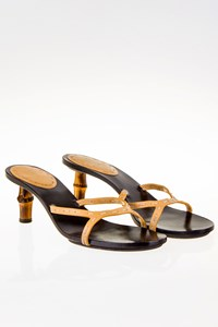 Gucci Beige Leather Mules with Bamboo Heels / Size: 38½ C - Fit: 39