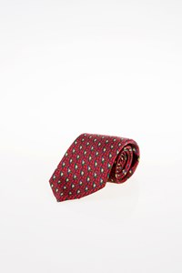Hermès Burgundy Silk Tie with Multicoloured Print
