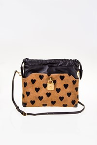 Burberry Prorsum Pony Hair Little Crush Mixed Media Heart Convertible Clutch