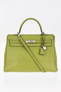 Hermès Vert Anis Clemence Kelly 35 Tote Bag with Strap